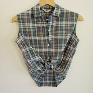 VINTAGE Made in Japan Plaid Button Up Tank Top S